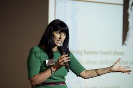 Dr Roxanne Khan speaking at the Preston launch event Pic: UCLan