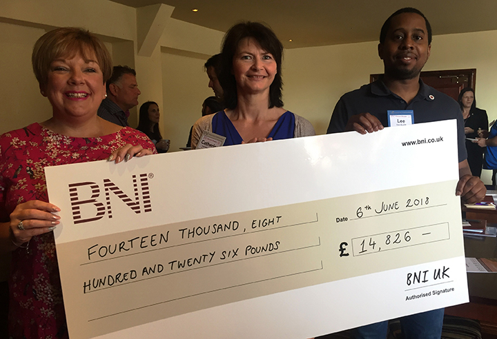 BNI cheque l-r Jen Coulston-Herrmann, Catherine Smith, Lee Pritchard