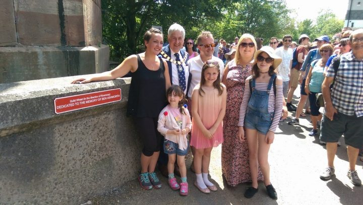 Louise Ashworth and family pose with the plaque Pic: Blog Preston