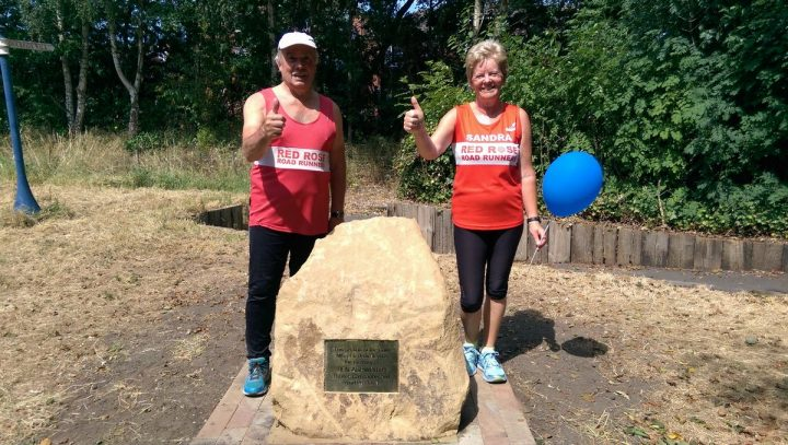 Sandra Rolston reaches the mid-point of the Ben Ashworth memorial walk Pic: Blog Preston