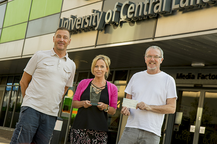 Ian Hornby, Sophie Wells and Bill McCoid with the Janet Budd Award