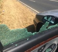 Damage caused to the window by the rock Pic: Claire Hughes