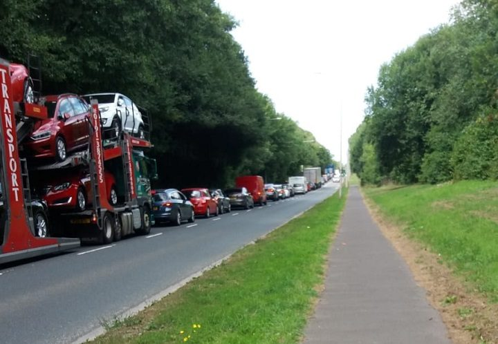 Gridlock in Eastway, Fulwood, during Thursday afternoon