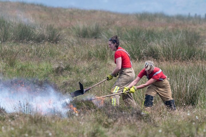 Firefighters beating the peat to try and put out the blaze Pic: Benjamin Wareing/Blog Preston