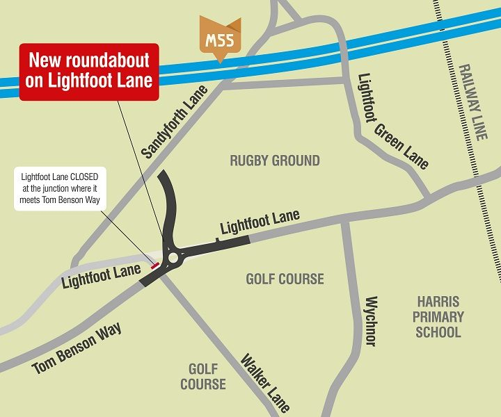 A map showing the new roundabout in Fulwood