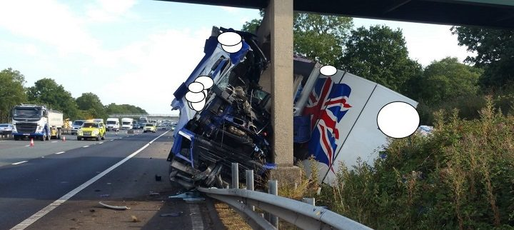 Picture released by police of the lorry on the M6