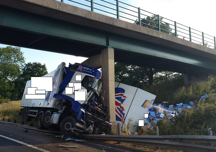 The scene on the M6 where the lorry has struck a bridge Pic: North West Motorway Police