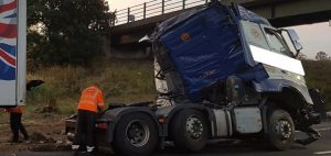 The lorry being removed on the M6 Pic: Highways England
