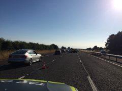 Police on the scene of the crash near Kirkham Pic: LancsRoadPolice