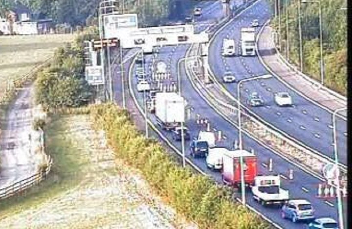 Scene on the M6 southbound during Thursday morning Pic: Highways England