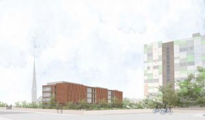 How the block of flats may look near the university's Media Factory building
