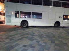 The bus became stuck on the raised concrete slab Pic: Paul van de Rooy
