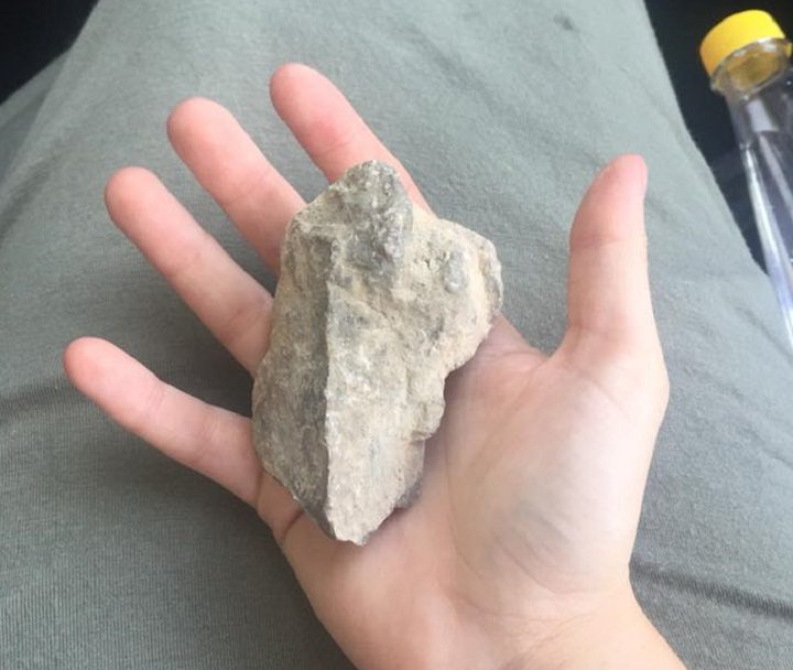 The rock found in the back of the car Pic: Claire Harrison