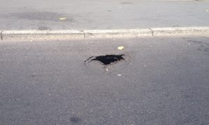 The sinkhole has opened up in Fishwick Pic: Craig Thomas