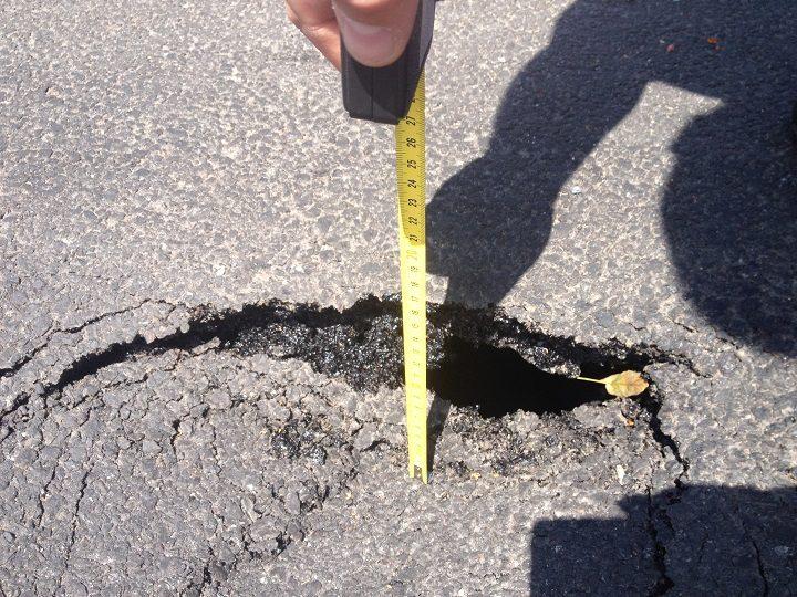 Measuring the sinkhole Pic: Craig Thomas