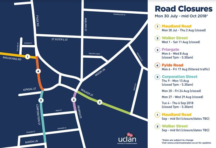Where and when the road closures take place