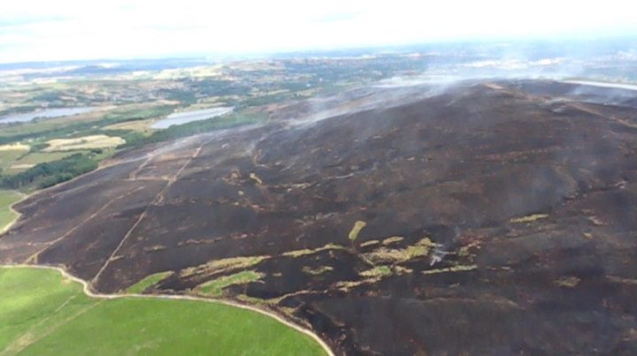 An aerial shot showing part of the area at Winter Hill burnt by the fire Pic: Lee Cook/Lancashire Fire and Rescue Service
