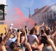 Fans on shoulders in Friargate celebrating the England win