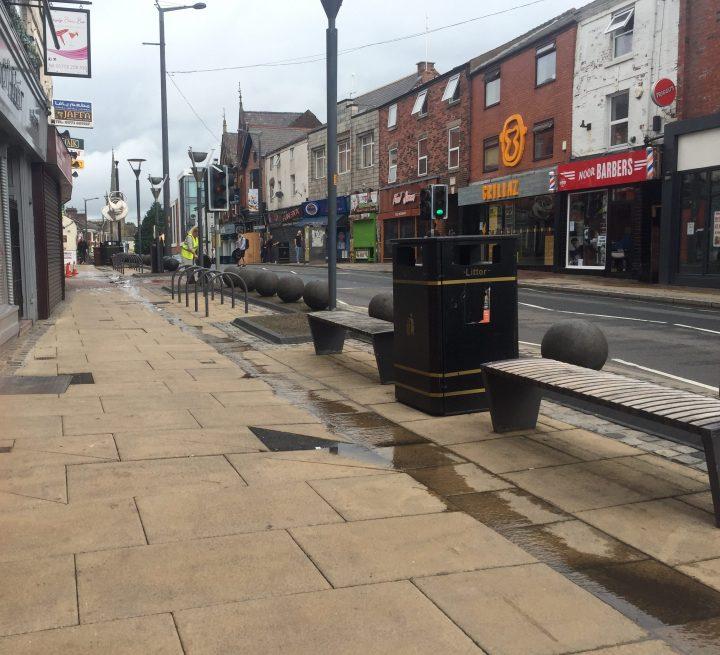 Scrubbing away on Friargate during Sunday morning Pic: Blog Preston