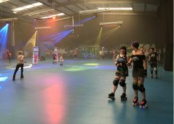 A couple of the Preston Roller Girls at the Roller World Preston opening