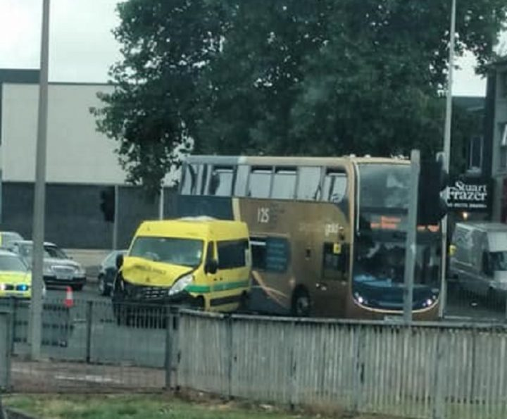 The ambulance has damage to its front Pic: Katie Eames/Talk Preston