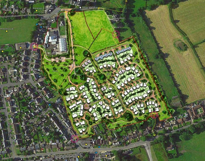 An overhead view of the Bushell's Farm development