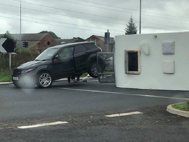 Caravan overturned on the A582 Pic: Daniel Murphy