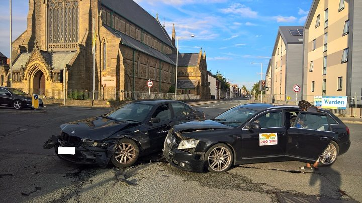 The two cars involved in the crash in North Road Pic: Garry Cook