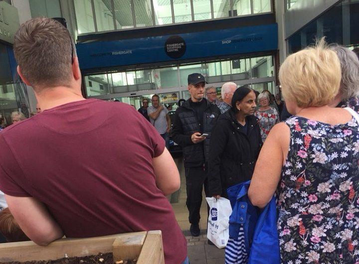 Shoppers leaving the Fishergate centre Pic: Kate Cronin