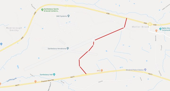 The route for the new road at Samlesbury Pic: Google