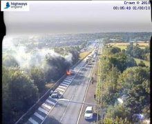Smoke was seen billowing from the cars at Junction 9 of the M61 Pic: Highways England