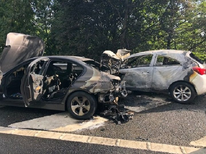The damage to cars on the M61 northbound Pic: Highways England