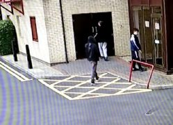 Three youths can be seen trying doors at the flats in the footage Pic: Blog Preston/Victoria Mansions