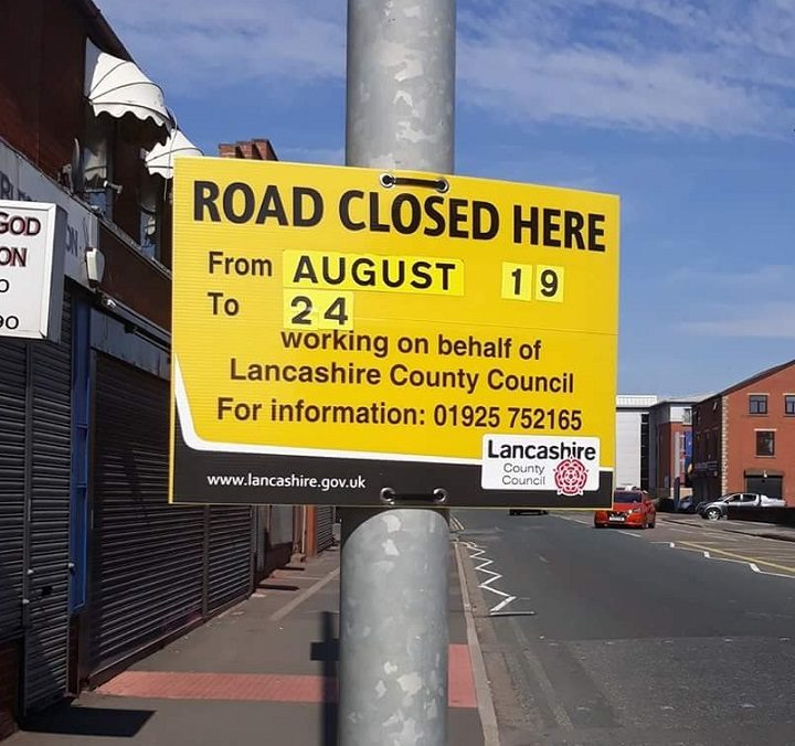 The road closure sign in New Hall Lane Pic: Michael Carey