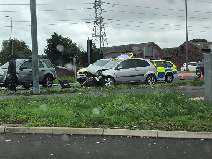 Police at the scene of the A582 roundabout crash Pic: Daniel Murphy