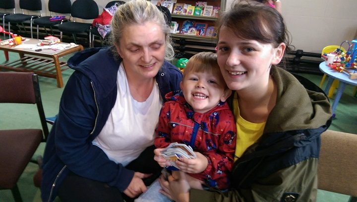 Sharon and Shannon, with Shannon's son having a snack at the market Pic: Blog Preston