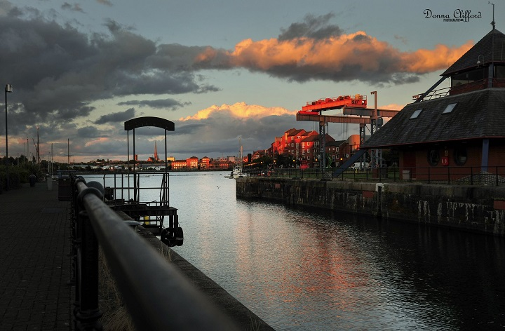 A stormy looking Preston Docks at sunset Pic: Donna Clifford