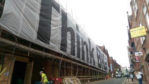 The 'Think Big' banner has gone up along Guildhall Street Pic: Blog Preston