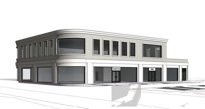 An artist impression of the shops and offices cornering the Broughton crossroads