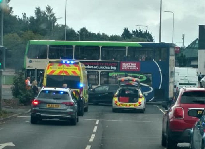 Emergency services attending the crash on the Ringway Pic: Katie Eames/Talk Preston