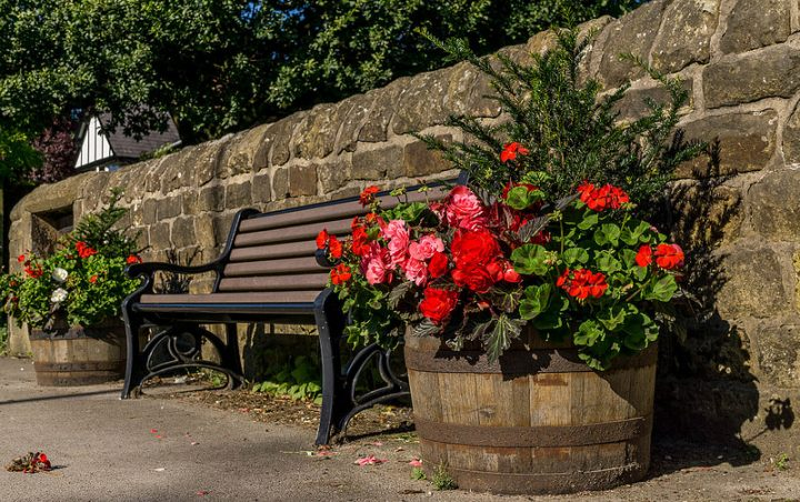 Flower tubs in Broughton Pic: Keith Sergeant