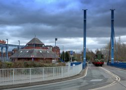 A steam train heading over the Swing Bridge Pic: Tony Worrall