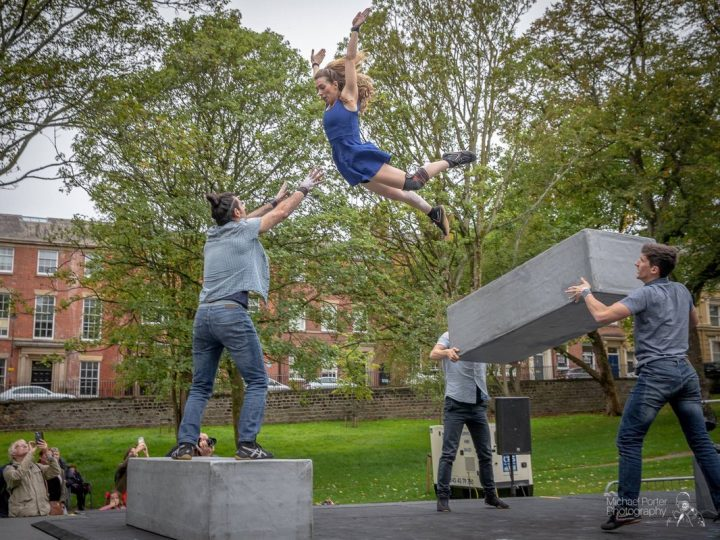 BLOCK leaping with the backdrop of Winckley Square Pic: Michael Porter