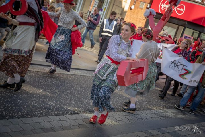 Dancing down Fishergate with the mill girls Pic: Michael Porter