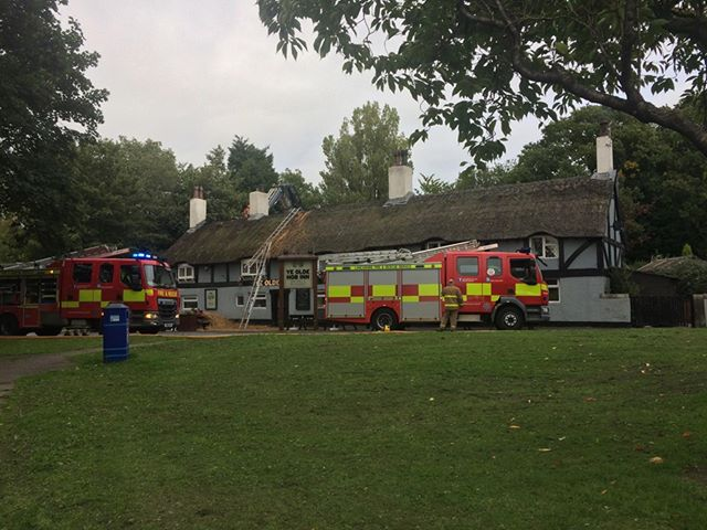 Firefighters on the scene at Ye Olde Hob Inn Pic: Shane King