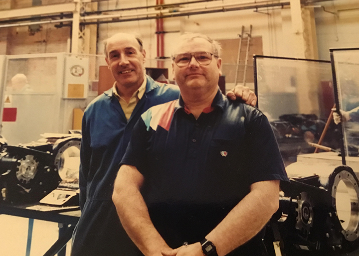 Colin Rogerson pictured right with the gearboxes he built, and his good friend Cliff Scott, who sadly passed away in 1996