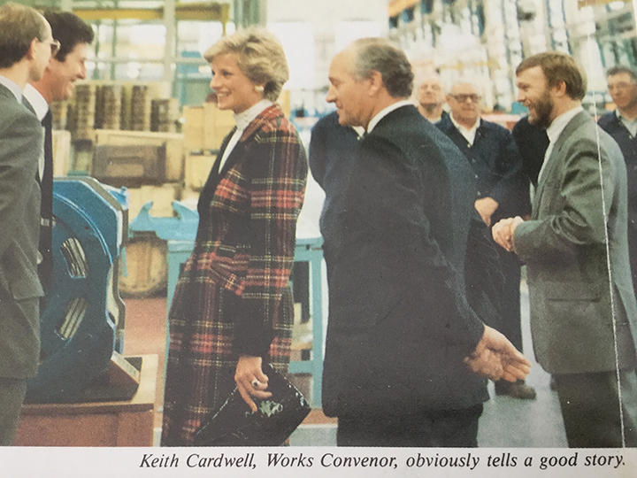 Keith Cardwell meeting Princess Diana at the factory in 1990