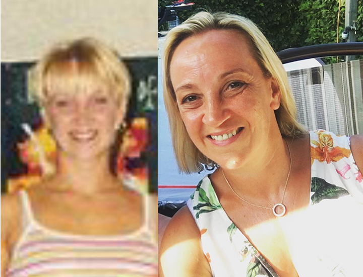 Liz Garmston in the 1990s on a works leaving do, and Liz today
