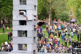 Daytime performance of BLOCK in Winckley Square Pic: Paul Melling