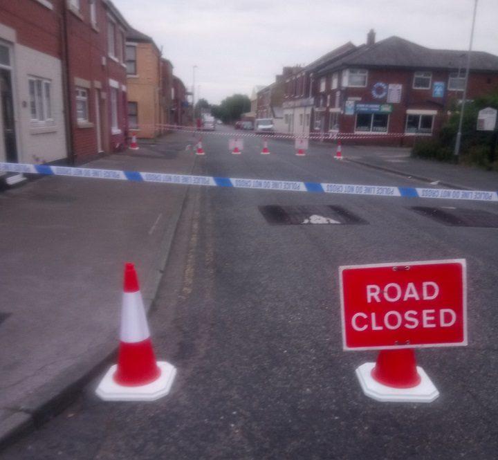 Police tape across Eldon Street Pic: Reece Catterall